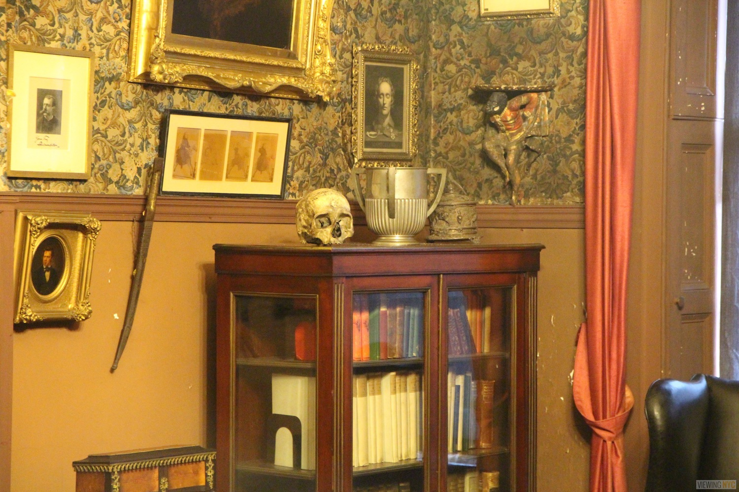 Edwin Booth's Bookcase and Unknown Skull