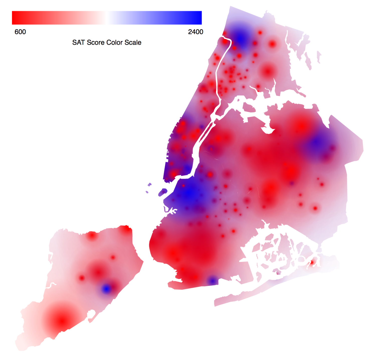 Heat Map Shows Average Sat Scores Across New York City Neighborhoods