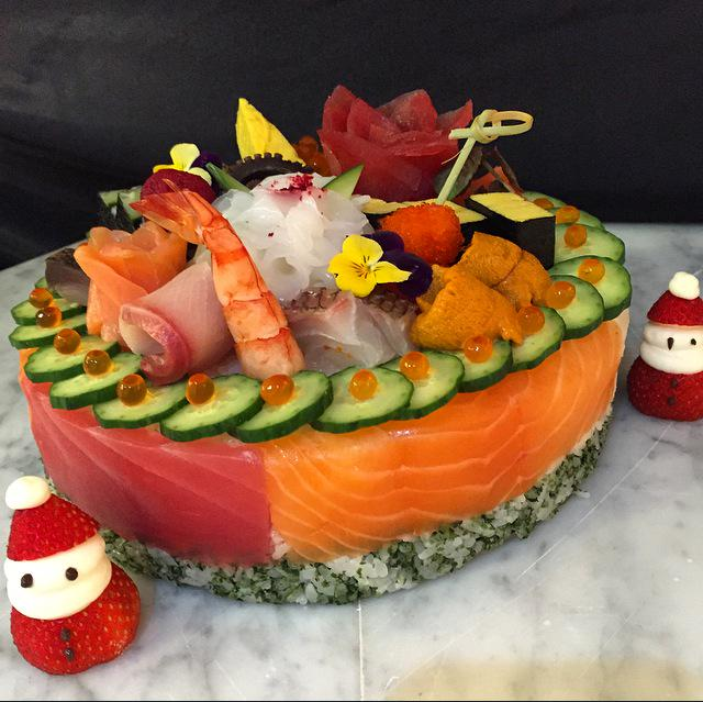 Chef Morimoto Created A Christmas Sushi Cake Viewing Nyc