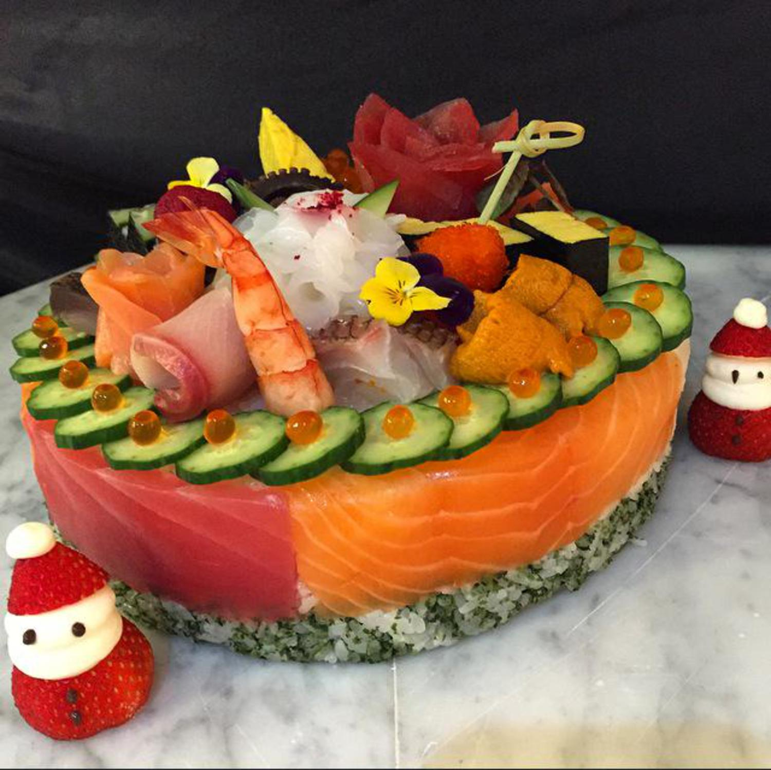 Chef Morimoto Created a Christmas Sushi Cake | Viewing NYC