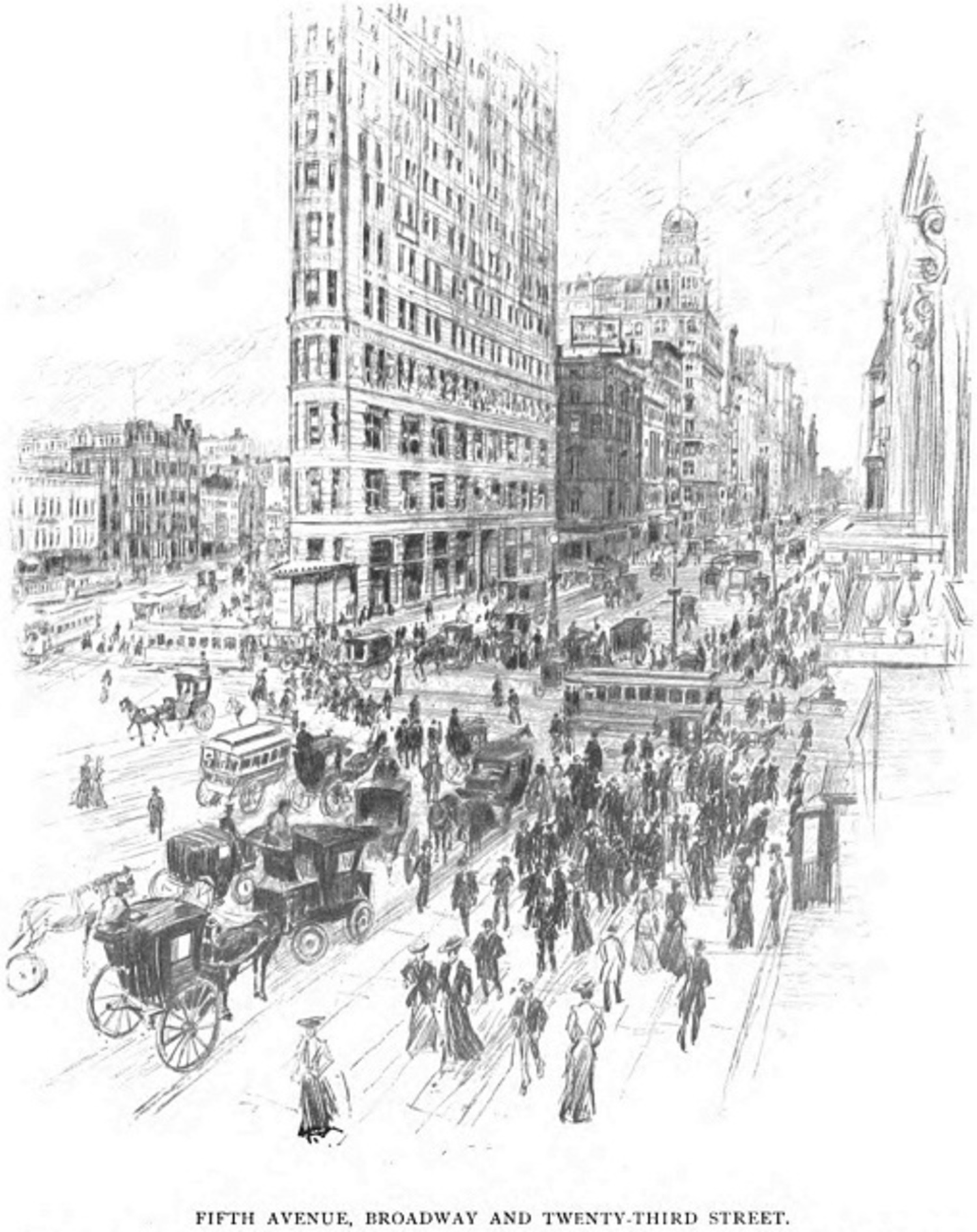 """American Cities in Pencil, III, New York: Fifth Avenue, Broadway and Twenty-third Street,"" Everybody's Magazine, May, 1904"