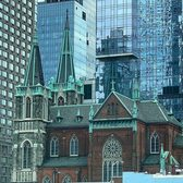 Croatian Church as seen from Lincoln Tunnel entrance. Manhattan, New York.