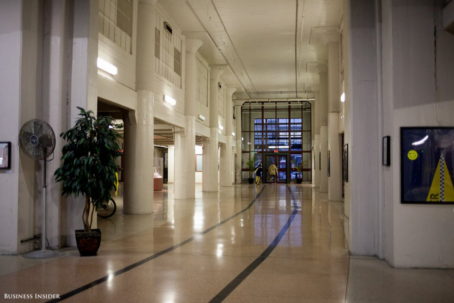 This is the lobby of the main building. The trains used to run directly through the building, as symbolized by the lines on the floor.