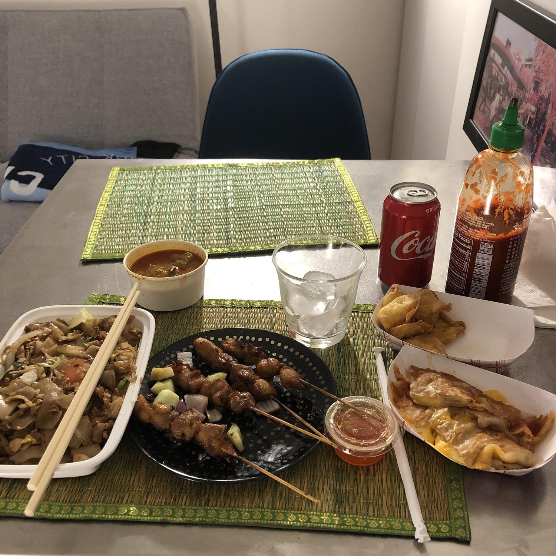 Pad Kee Mao, Chicken Satay, and Roti Cheese