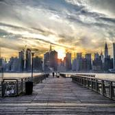 Sunset over East River and Manhattan skyline from Gantry Plaza, LIC, Queens