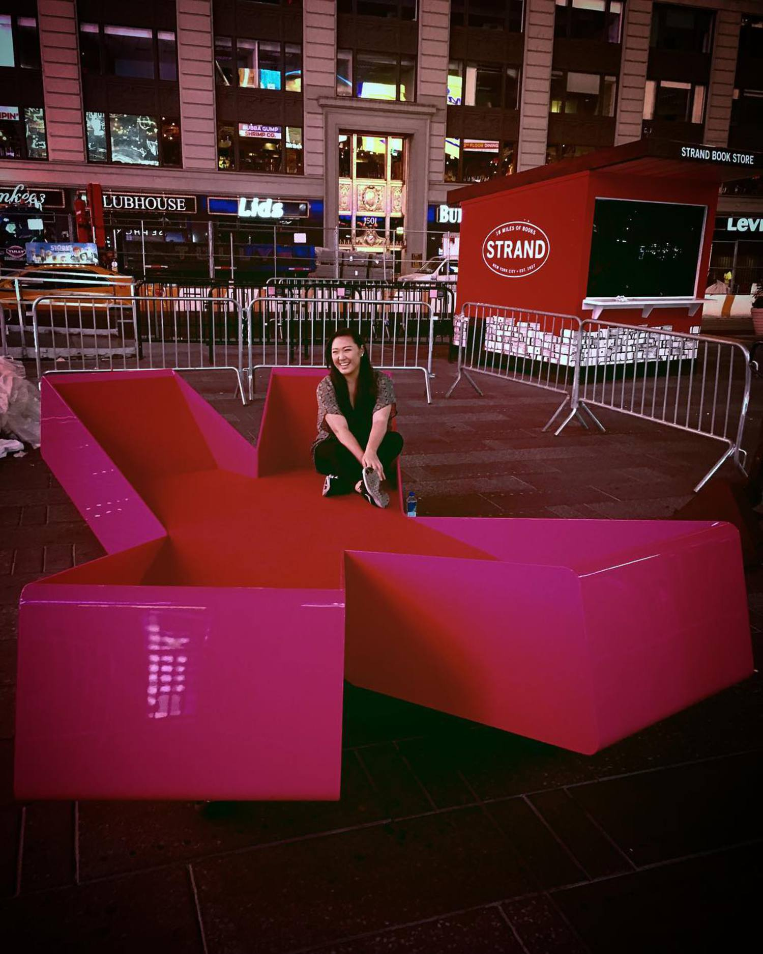 It's 3am and I'm sitting in a big pink X in the middle of #TimesSquare. #TSqXXX @tsqarts