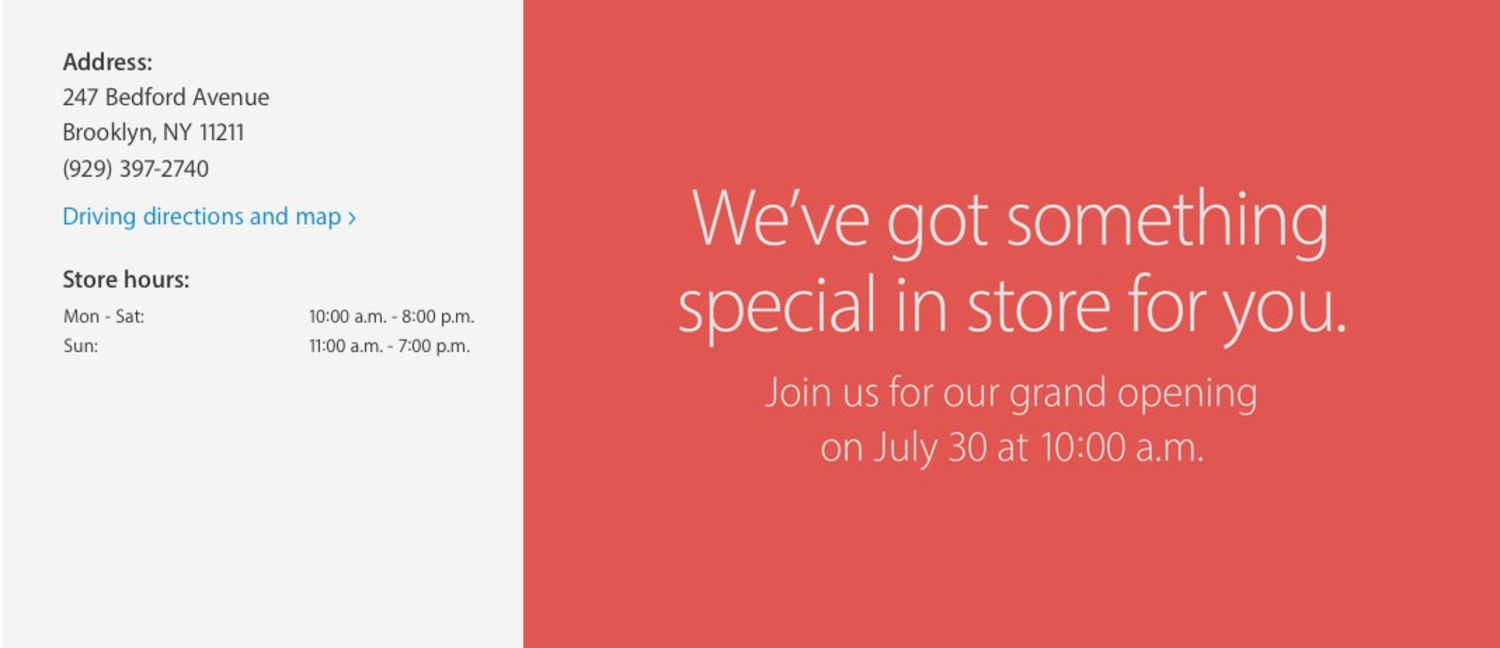 Apple Store Williamsburg opening July 30th