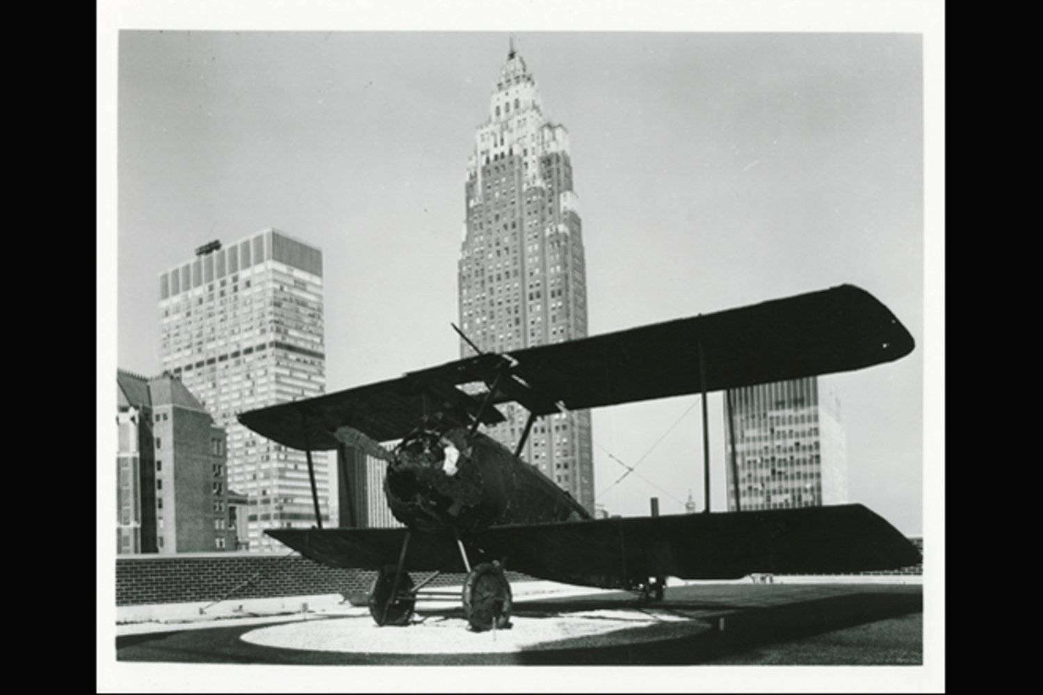 Here, a photo taken in 1969 of the newly installed plane replica. The fighter plane was placed on the roof while the building, which opened in 1970, was being constructed.