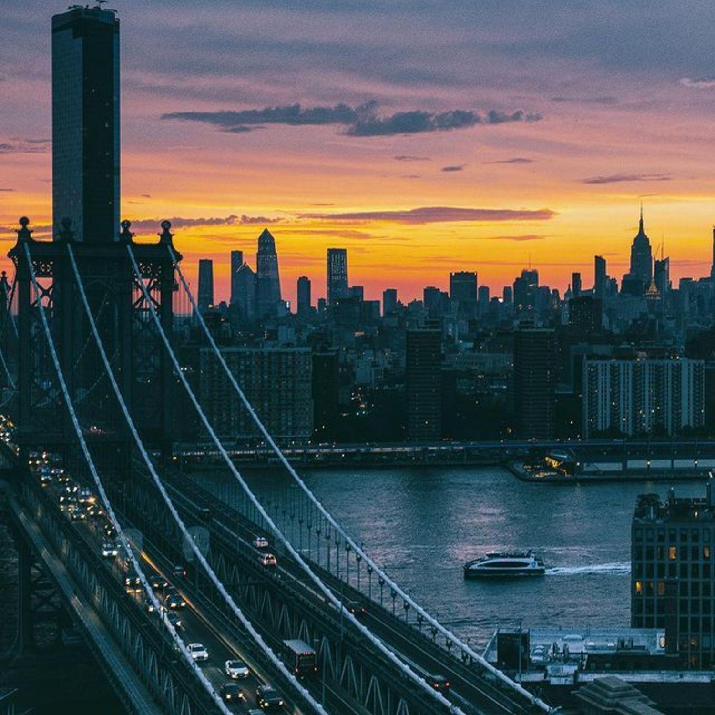Sunset over Manhattan Bridge, East River, and Lower Manhattan
