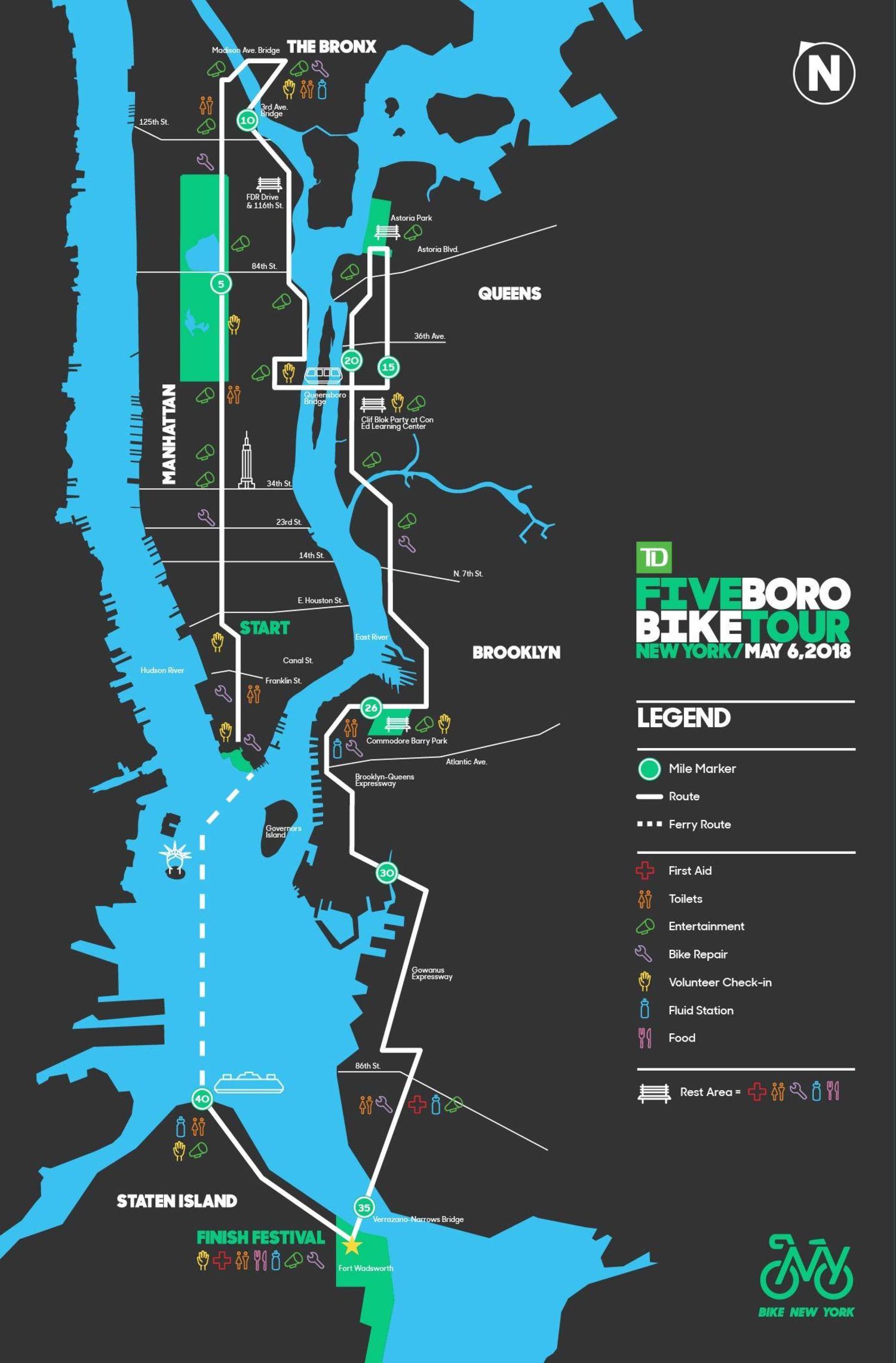 2018 Five Boro Bike Tour Route