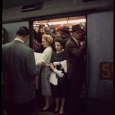 Rush hour on New York City subway, 1957