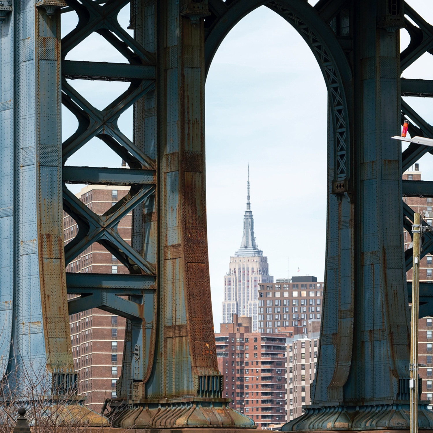 Empire State Building as seen through Manhattan Bridge from DUMBO, Brooklyn