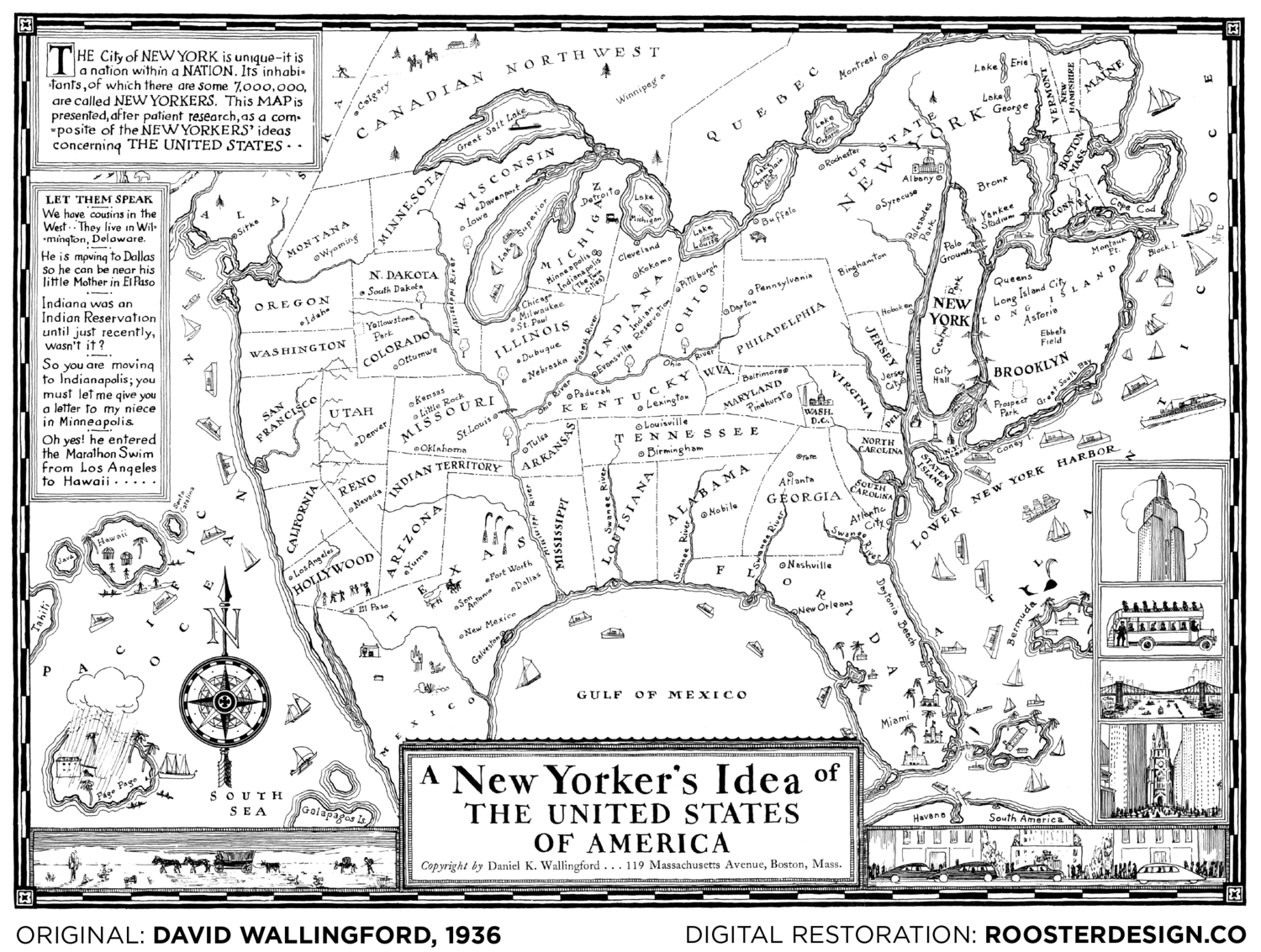 A New Yorker's Idea of the United States of America, 1938