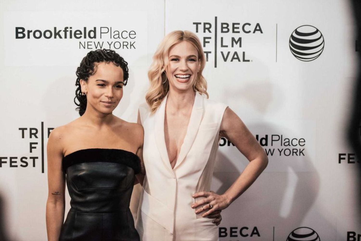 """Zoe Kravitz (left) and January Jones at the premiere of """"Good Kill"""" during the Tribeca Film Festival at BMCC Tribeca PAC on April 19, 2015, in Manhattan."""