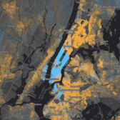 Income Inequality in New York City (screenshot). Blue dots represent incomes over $150k, orange dots < $150k.