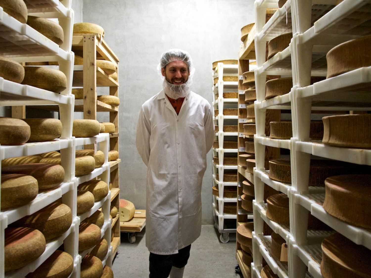 Cavemaster Brian Ralph with his cheeses.