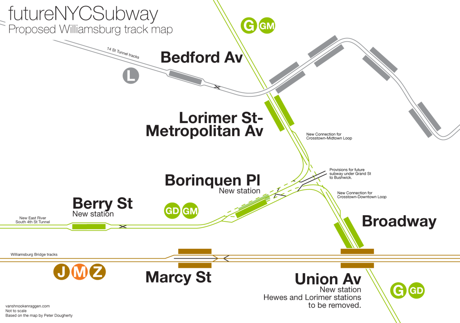 Proposed track map showing how Crosstown Loop Lines would connect with the existing Crosstown Line in Williamsburg.