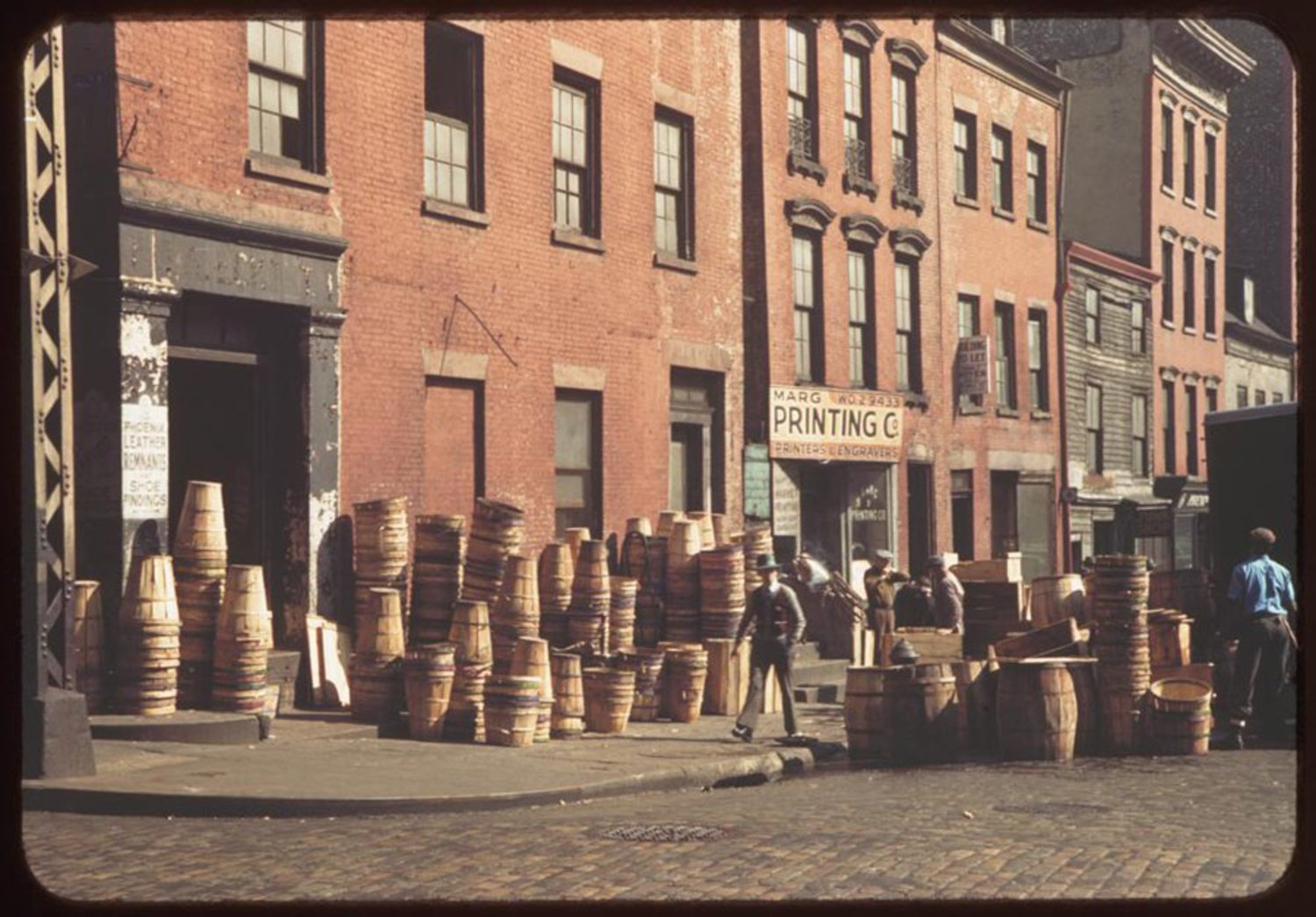 This is a corner on Pearl Street, which runs south through what is now Manhattan's Financial District.