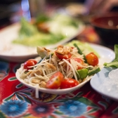 Pok Pok NY - Papaya Salad | <i><b>Papaya Pok Pok</b> - spicy green papaya salad with tomatoes, long beans, thai chili, lime juice, tamarind, fish sauce, garlic, palm sugar, dried shrimp and peanuts made to order in the pok pok (mortar and pestle). our namesake. needs sticky rice</i>  Good. Nice flavors. Good execution. $11.-   I have nothing more to say beyond that.