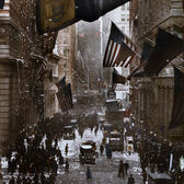 A century ago: Germany Surrendered - Celebrations on Wall Street, Nov 7th 1918 (colorized)