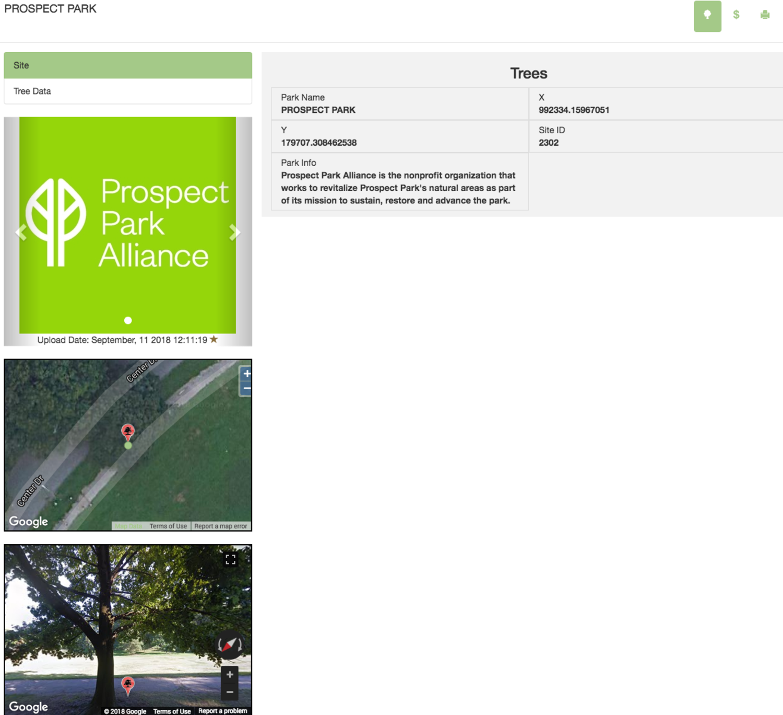 TreeKeeper Interactive Map (screenshot)