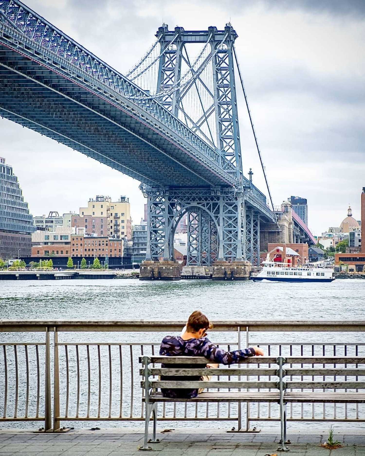 Manhattan Bridge from East River Esplanade, Manhattan