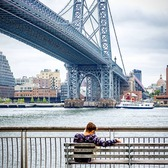 Manhattan Bridge from East River Esplanade, Manhattan
