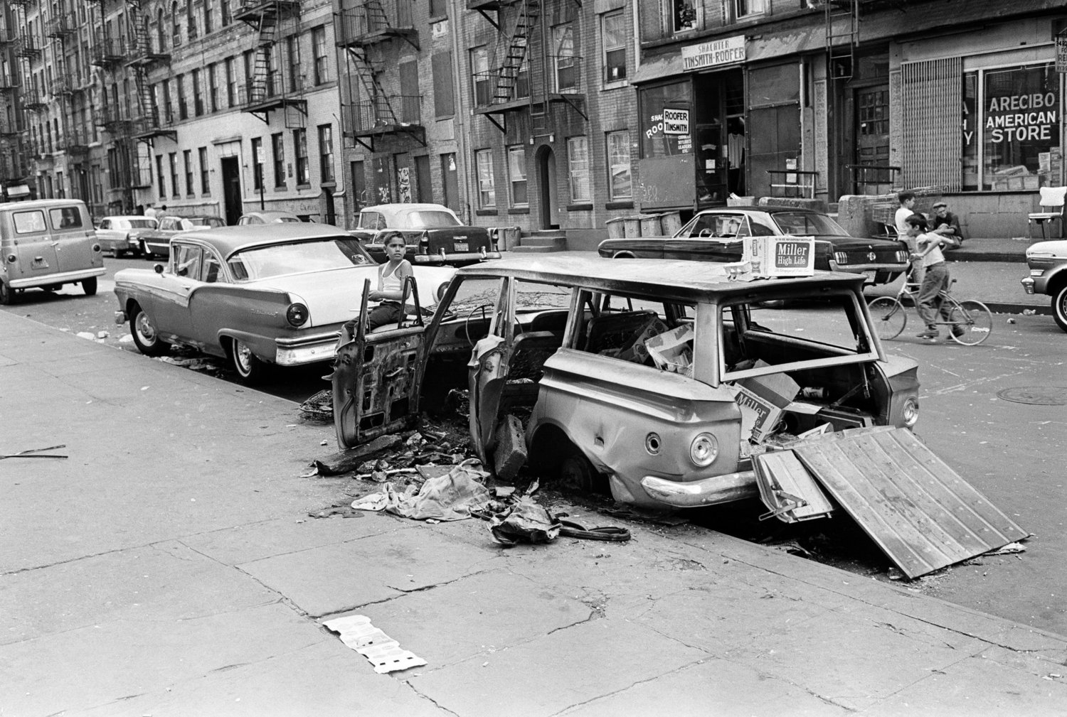 An abandoned car on the Lower East Side. Sept. 3, 1968.