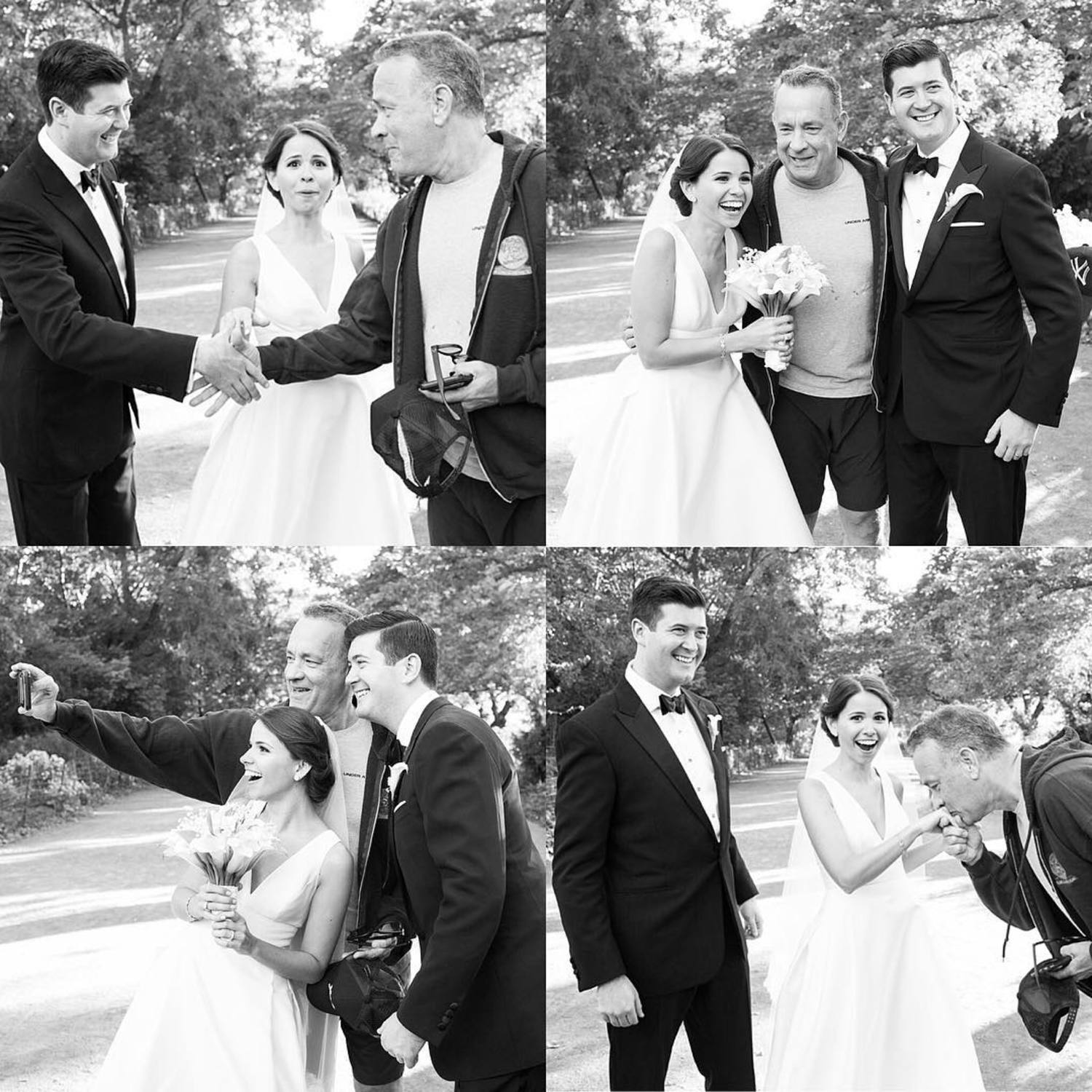 Yesterday's wedding was so beautiful! Elisabeth and Ryan you planned one amazing celebration. The icing on the cake was @tomhanks stopping in Central Park to wish them congratulations. #megmillerphotography #newyork #nyc #nyminute #celebrity #brideandgroom #tomhanks #weddingdress #wedding #weddingday #blacktie #centralpark #blackandwhite #huffpostido #stylemepretty #weddinginspiration #selfie #celebritysighting
