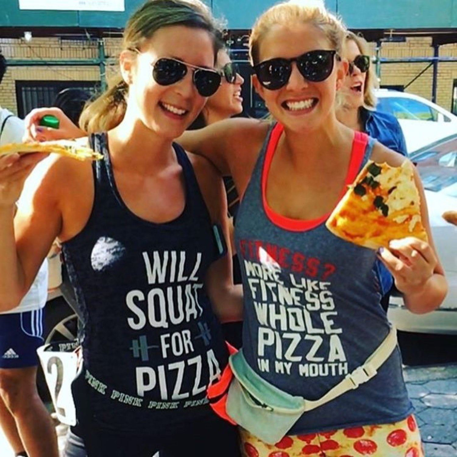 Can you believe that we are just one week away from this year's event?? See you next Sunday! Here's a pic of @lbr0wneyesi and @thepizzamonster1 rocking their slices and pizza tanks from last year's run!