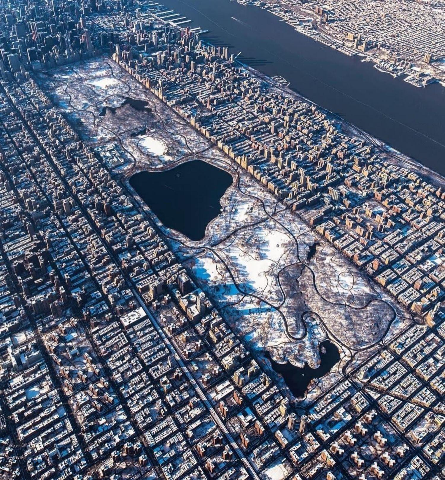 Snow-covered Central Park, New York, New York