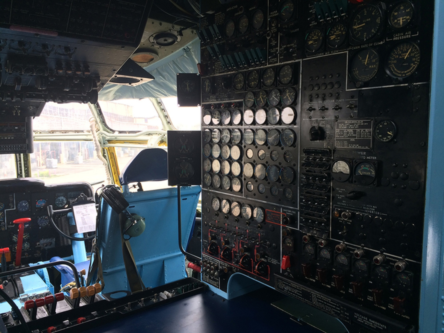 Inside the cockpit of the Boeing Stratofreighter on the day the volunteers tested the landing gear.