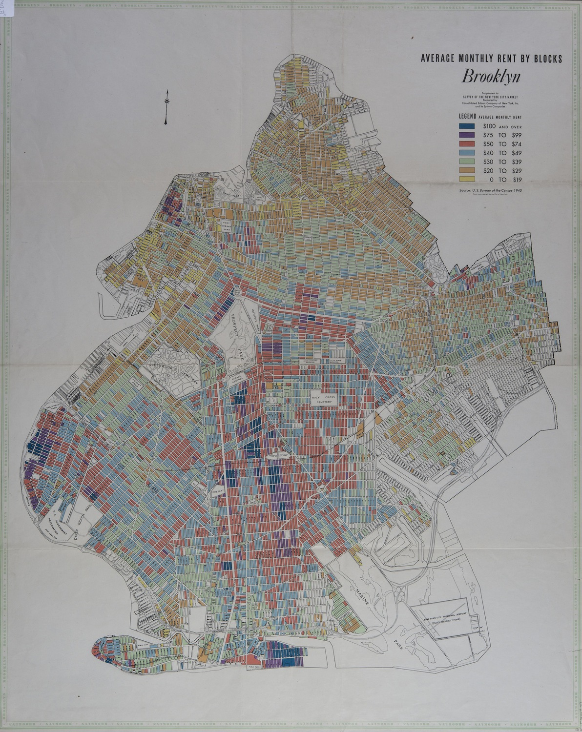 Average Monthly Rent By Blocks, Brooklyn, 1940