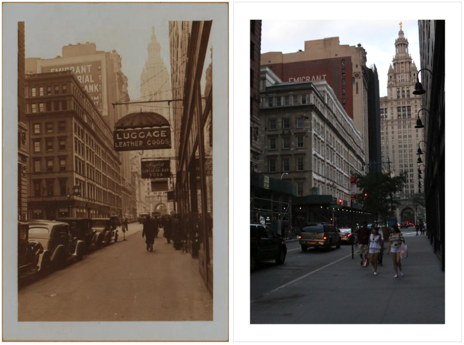 Chambers street, north side, facing east towards and including Broadway and Centre street (P.L. Sperr, 1936). November 6, 1936 // July 4, 2017