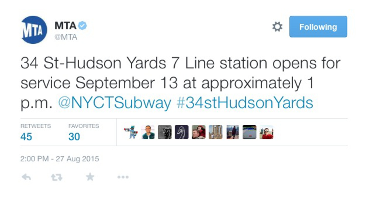 34 St-Hudson Yards 7 Line station opens for service September 13 at approximately 1 p.m.