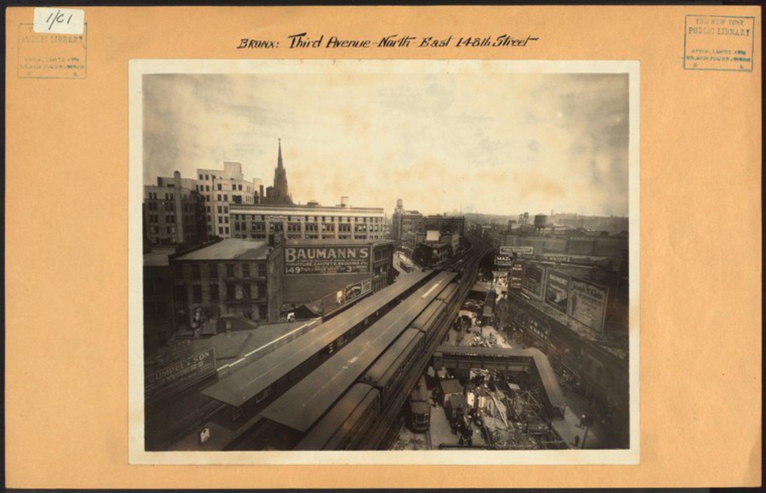 "Third Avenue at 148th Street in The Hub looking north towards Melrose in 1926. Many of the buildings in this image still stand including Immaculate Conception Church (minus its steeple). Long gone is the Third Avenue El which left a gaping transit desert in Morrisania and other points north / Image Credit: Irma and Paul Milstein Division of United States History, Local History and Genealogy, The New York Public Library. ""Bronx: 3rd Avenue – 148th Street (East)"" The New York Public Library Digital Collections. 1926."