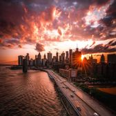 Sunset over Lower Manhattan skyline