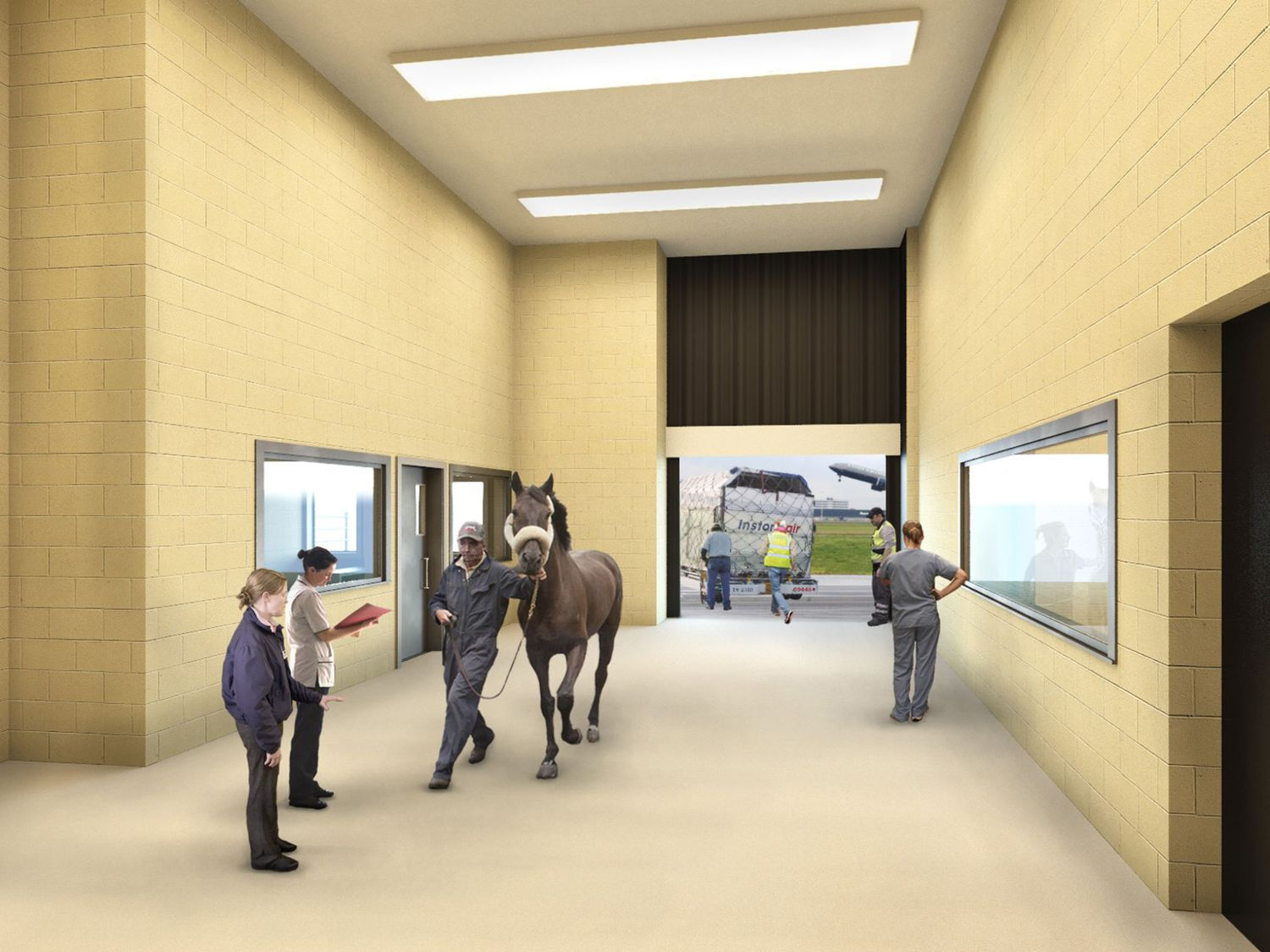 This undated artist rendering courtesy of ARK Development shows a horse being escorted into a planned new luxury terminal at NYC's JFK Airport.
