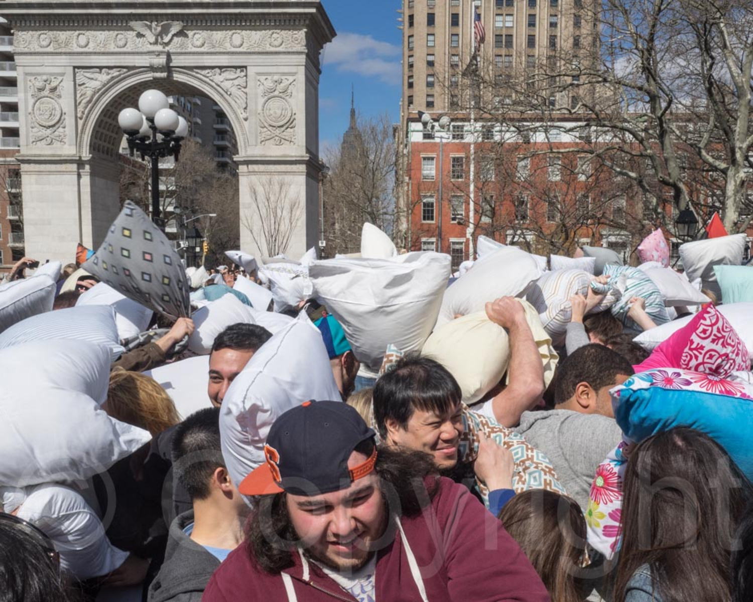 2014 World Pillow Fight Day, Washington Square Park, New York City