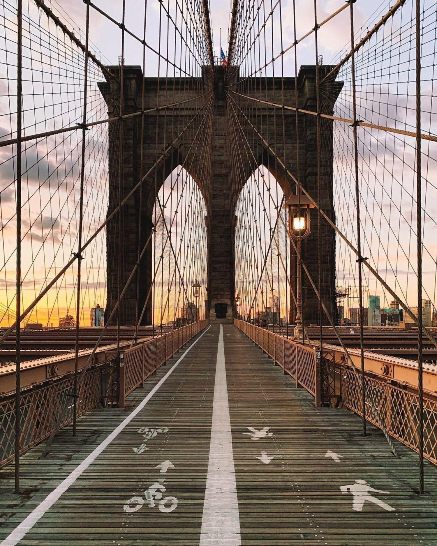Sunrise Over Brooklyn Bridge, New York, New York