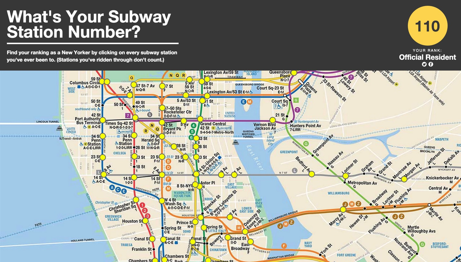 Nyc Subway Station Maps.What S Your Subway Station Number A Website To Quiz How New York You Really Are Viewing Nyc