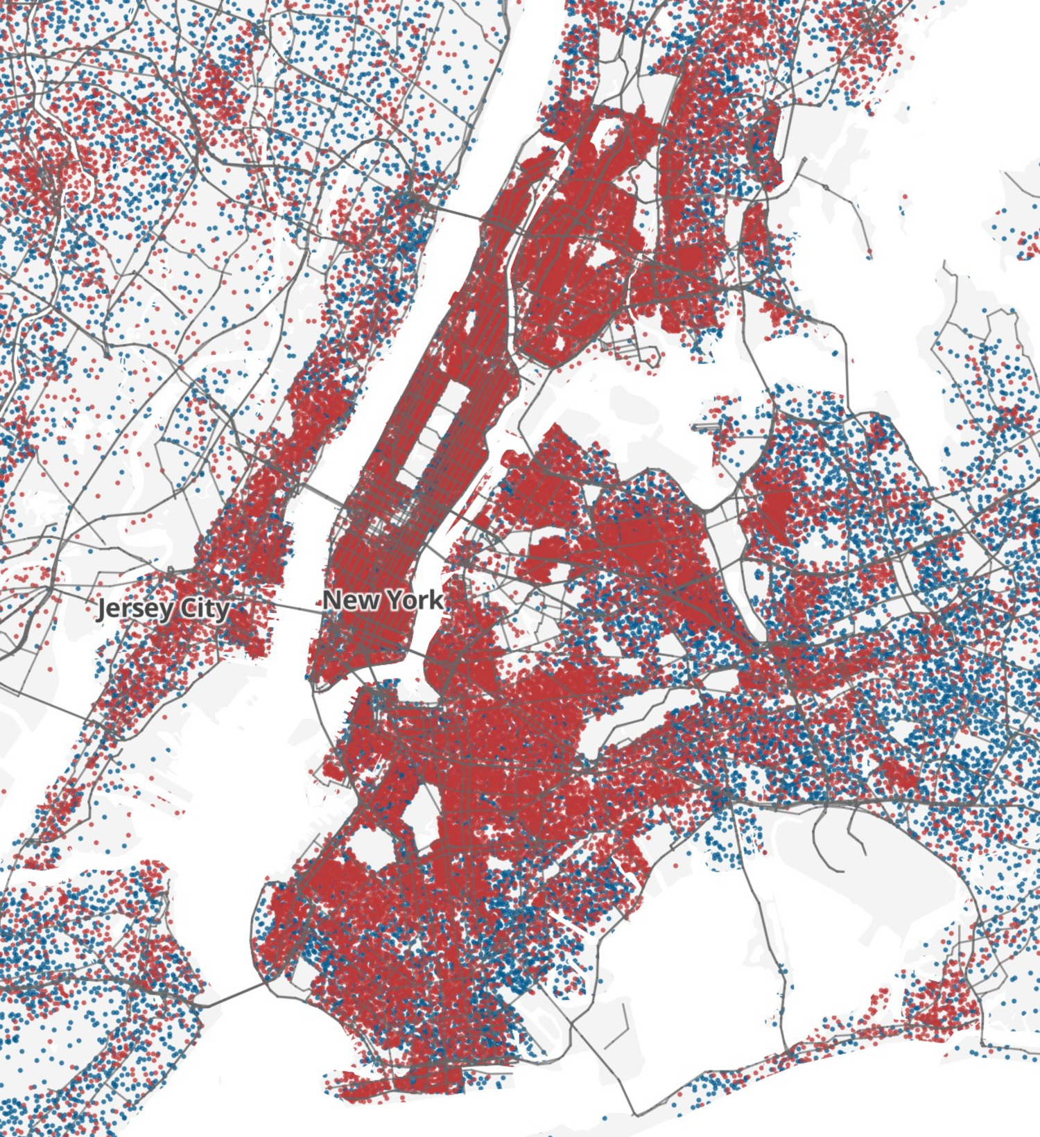 Blue Dot: 25 Homeowners — Red Dot: 25 Renters