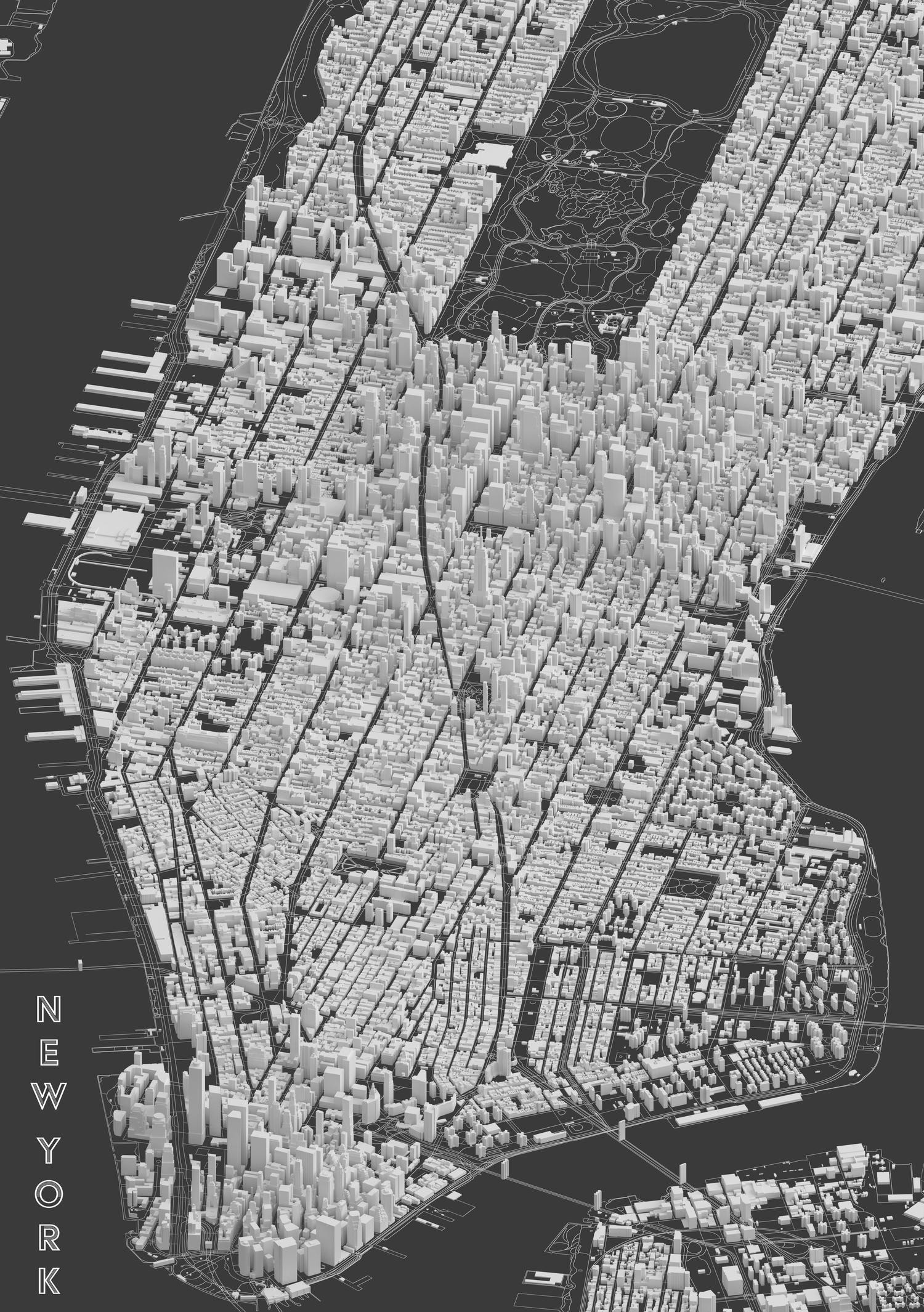 New York City, Clay Print