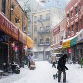 Chinatown, New York. Photo via @juliansilvermanphotos #viewingnyc #newyorkcity #newyork #nyc #snow #chinatown