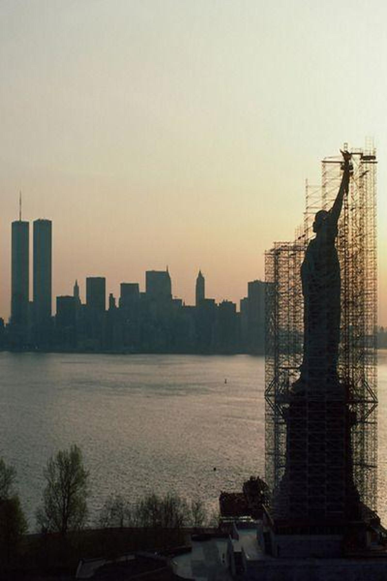Statue of Liberty undergoing renovations and repairs in the mid 1980s