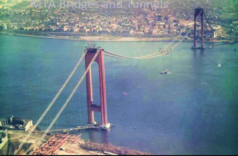 Verrazzano-Narrows Bridge under construction, Staten Island and Brooklyn, 1963