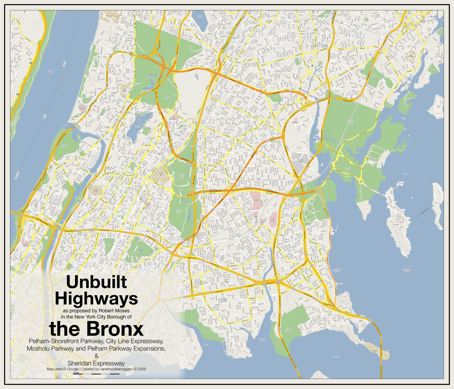 Unbuilt Highways of the Bronx | Unbuilt Highways as proposed by Robert Moses in the New York City Borough of the Bronx: Pelham-Shorefront Parkway, City Line Expressway, Mosholu Parkway and Pelham Parkway Expansions, & Sheridan Expressway Map data © Google | Created by vanshnookenraggen © 2009
