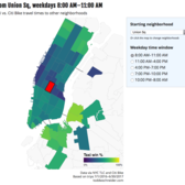 Screenshot of interactive data visualization that compares transit times of a NYC taxi vs Citi Bike for your starting location, ending location, and time of day.