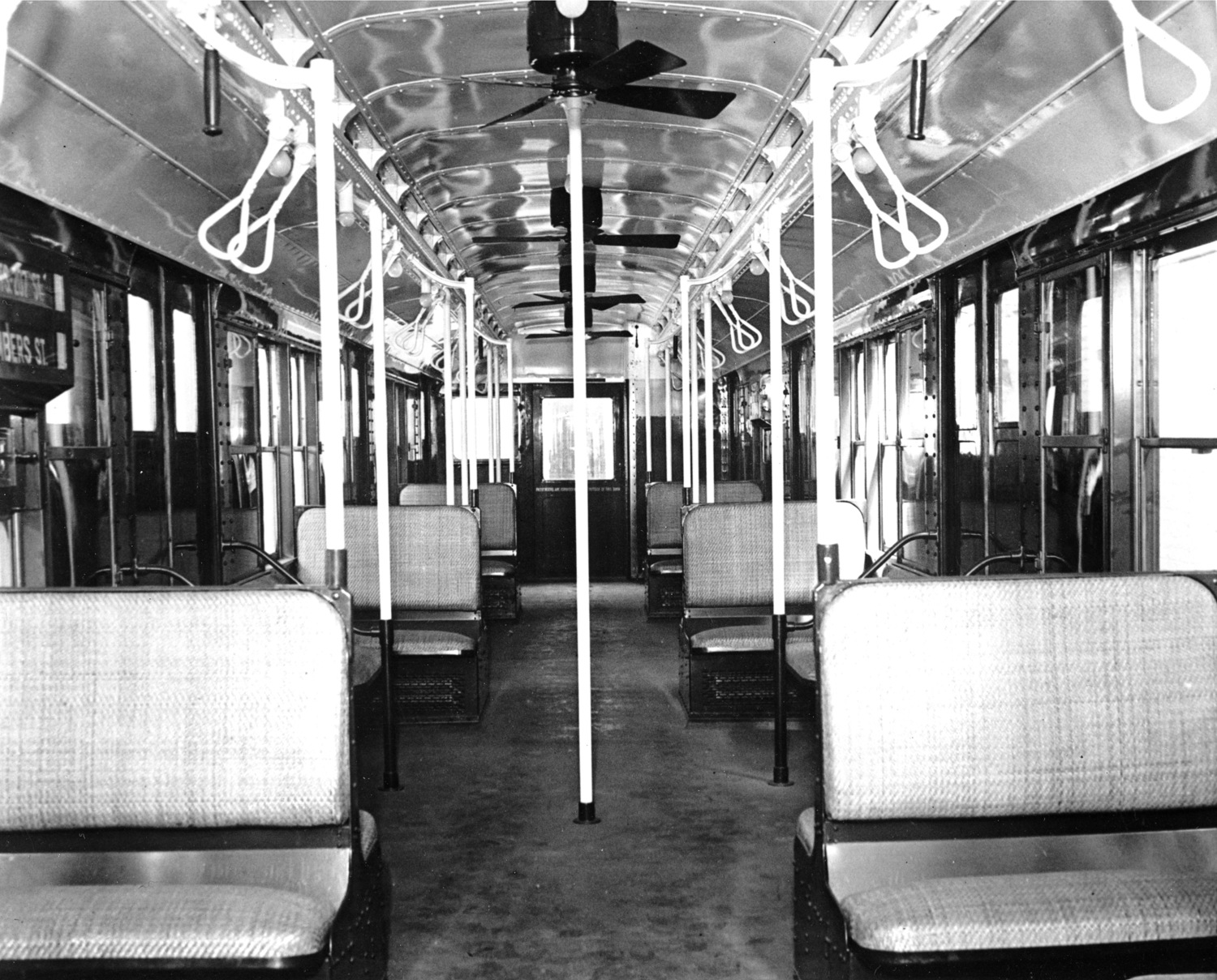 This is an interior view of the new 8th Avenue subway car in New York City, May 1937.