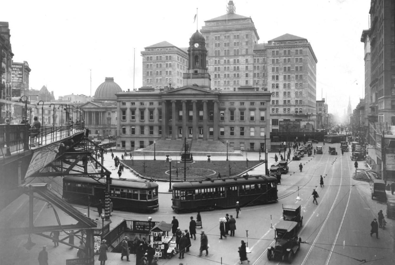 Brooklyn Borough Hall, Court Street toward Joralemon Street (December 1925)
